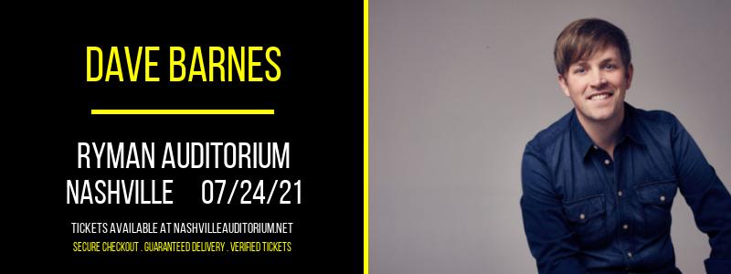 Dave Barnes at Ryman Auditorium