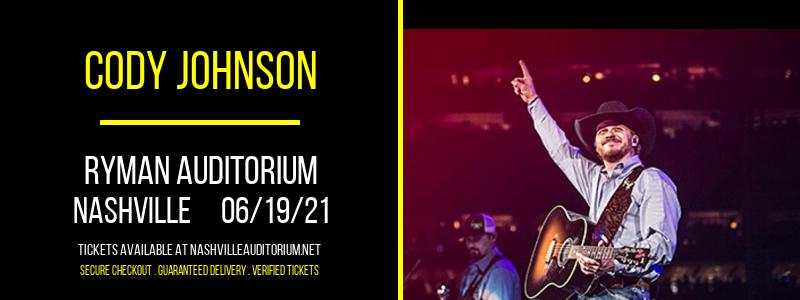 Cody Johnson at Ryman Auditorium